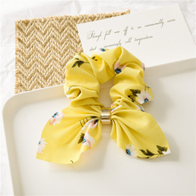 New Floral Elastic Hair Bands Striped Knotted Rabbit Ear Bowknot Tie Rope Metal Buckle Summer Scrunchies