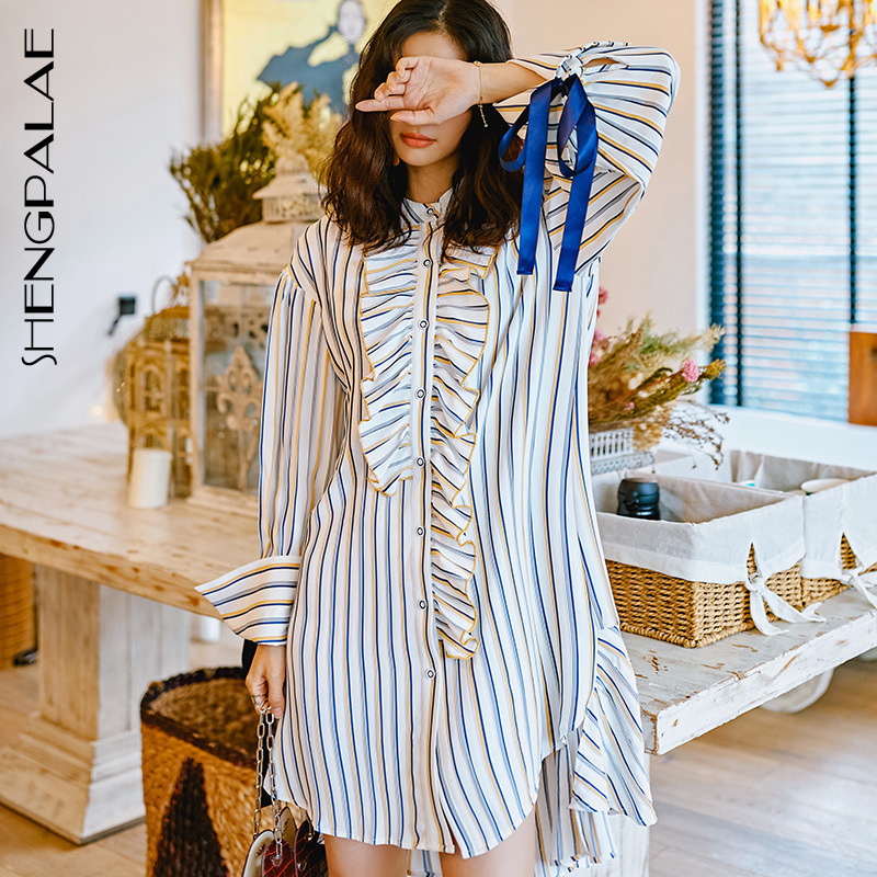 SHENGPALAE 2019 Summer New Korean Clothes For Women Fashion Stand Collar Patchwork Ruffles Striped Iirregular Shirt Dress YH157-in Dresses from Women's Clothing    1