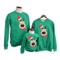 Chritmas Family Clothing Autumn Winter Sweater Christmas Deer Children Clothes Shirts Polar Fleece Warm Family Matching Outfits