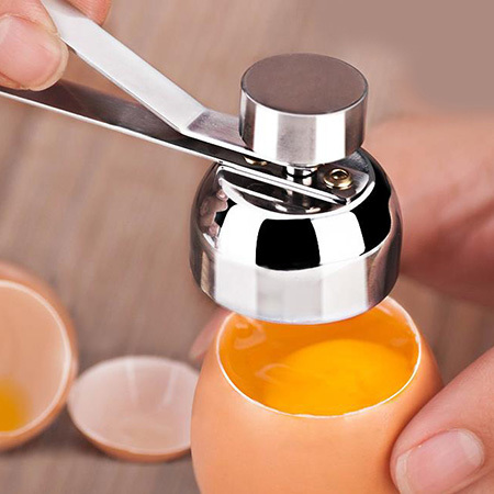 Stainless Steel Egg Opener Measuring Ball Eggshell Top Cracker Boiled Egg Topper Shell Cutter Knocker Raw Egg Cracker Separator