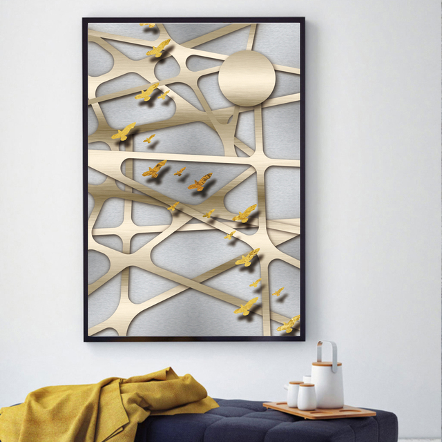 AAHH Posters and Prints Print on Canvas Abstract Wall Art Picture for Living Room Home Decor Champagne Metal Mesh No Frame