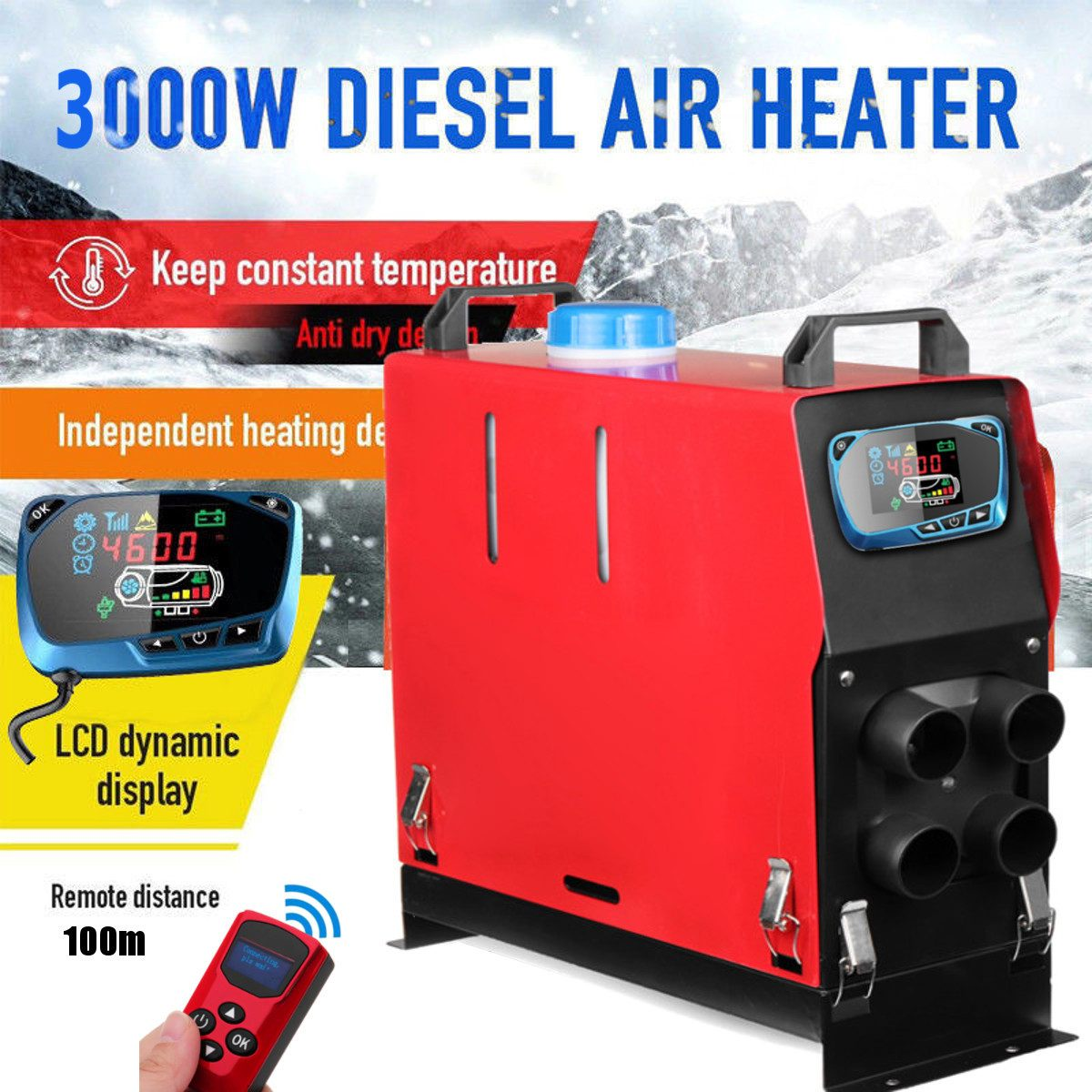 3000W Air diesels Heater 3KW 12V 1 Hole Car Heater For Trucks Motor-Home Boats Bus +LCD key Switch + Silencer +English Remote3000W Air diesels Heater 3KW 12V 1 Hole Car Heater For Trucks Motor-Home Boats Bus +LCD key Switch + Silencer +English Remote
