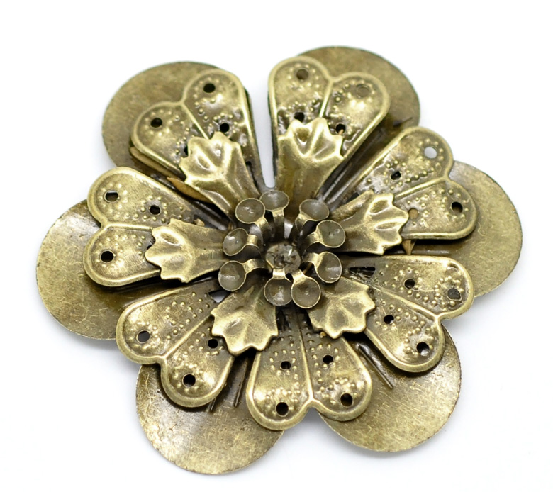 DoreenBeads 10 Antique Bronze Filigree Flower Embellishments Findings 4.9x4.5cm(can hold SS10 rhinestone) (B18562), yiwuDoreenBeads 10 Antique Bronze Filigree Flower Embellishments Findings 4.9x4.5cm(can hold SS10 rhinestone) (B18562), yiwu