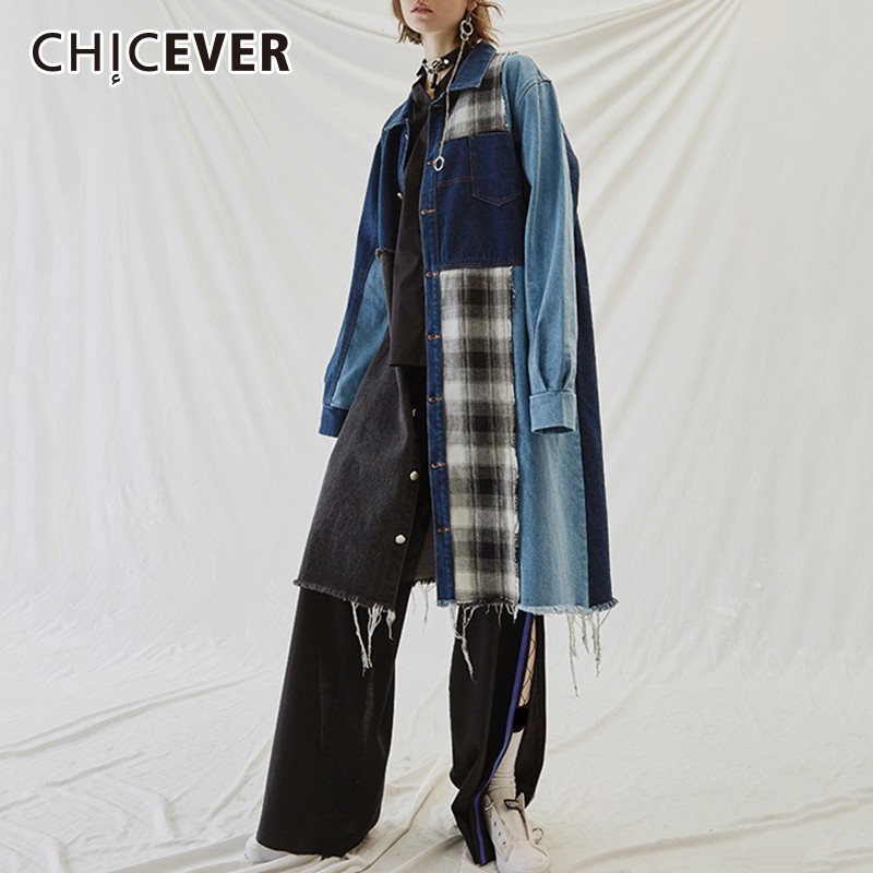 CHICEVER 2018 Autumn Plaid Patchwork Denim Women's Windbreaker   Trench   Female Coat Lapel Long Sleeve Single Breasted Windbreakers