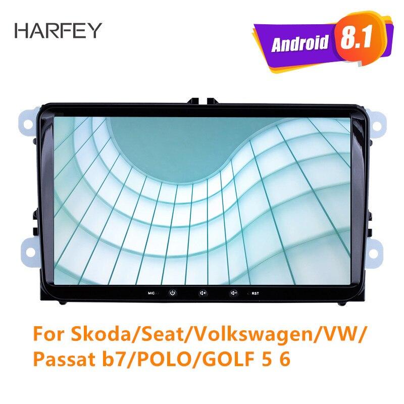 Lecteur multimédia de voiture Harfey 4 cœurs GPS Navigation Android 8.1 Auto Radio pour Skoda/Seat/Volkswagen/VW/Passat b7/POLO/GOLF 5 6