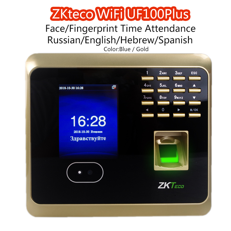 ZKteco WiFi UF100Plus Face/Fingerprint Time Attendance with Free ZKSoftware Biometric facial Fingerprint Scanner Time Attendance