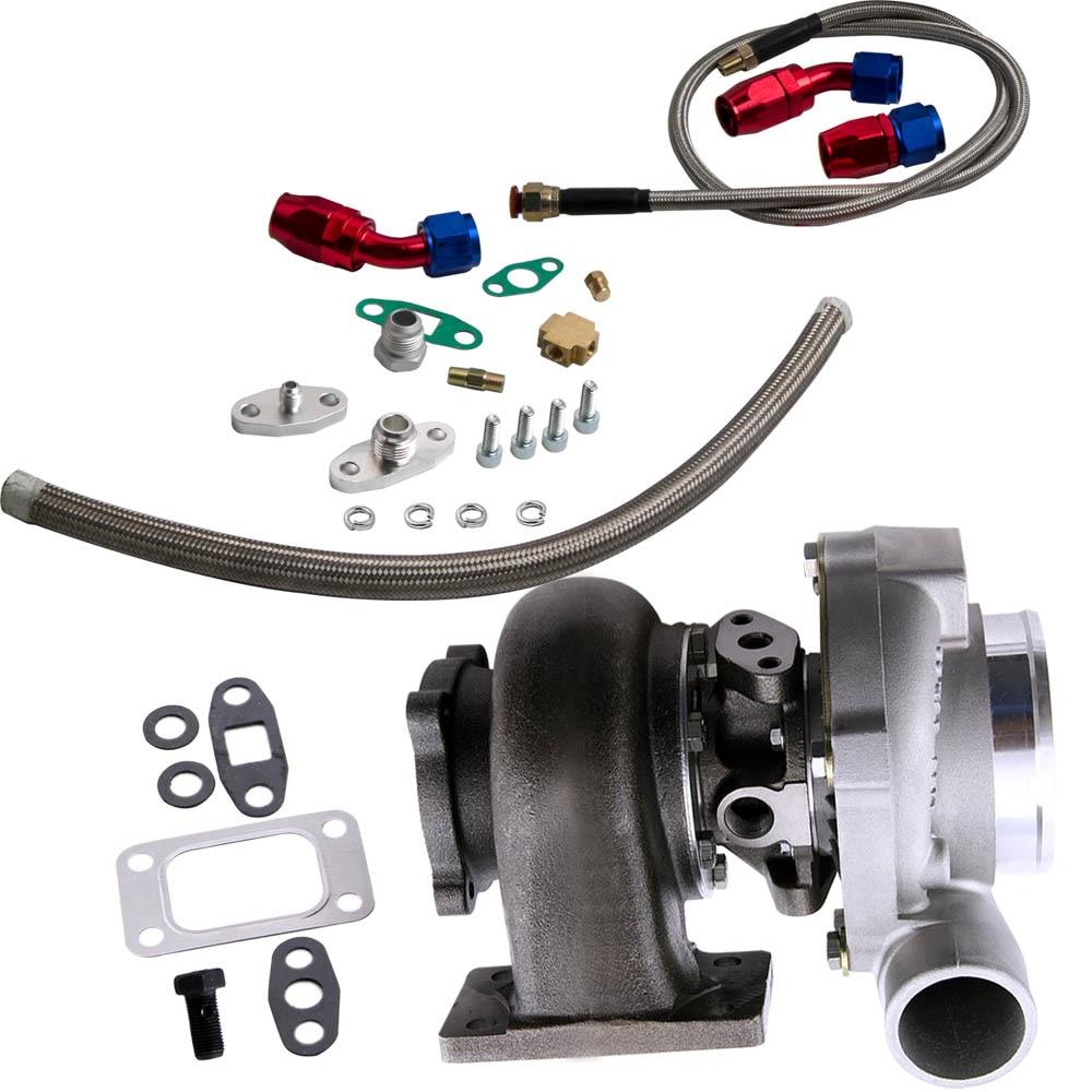 Turbocompresor GT30 GT3037 GT3076 Turbo 500bhp + líneas de alimentación de aceite de retorno de drenaje de aceite para todos los motores 6/8 cyl 3.0L 5.0L - 2