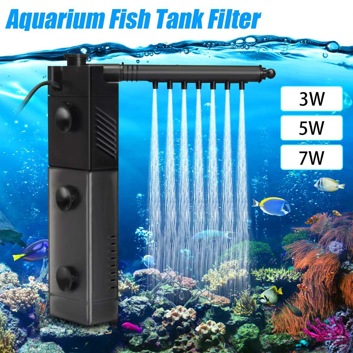 220V 3in1 Aquarium Fish Tank Filter Aquarium Internal Filter Water Submersible Pump Fish Tank Oxygen Spray Tool 3W/5W/7W