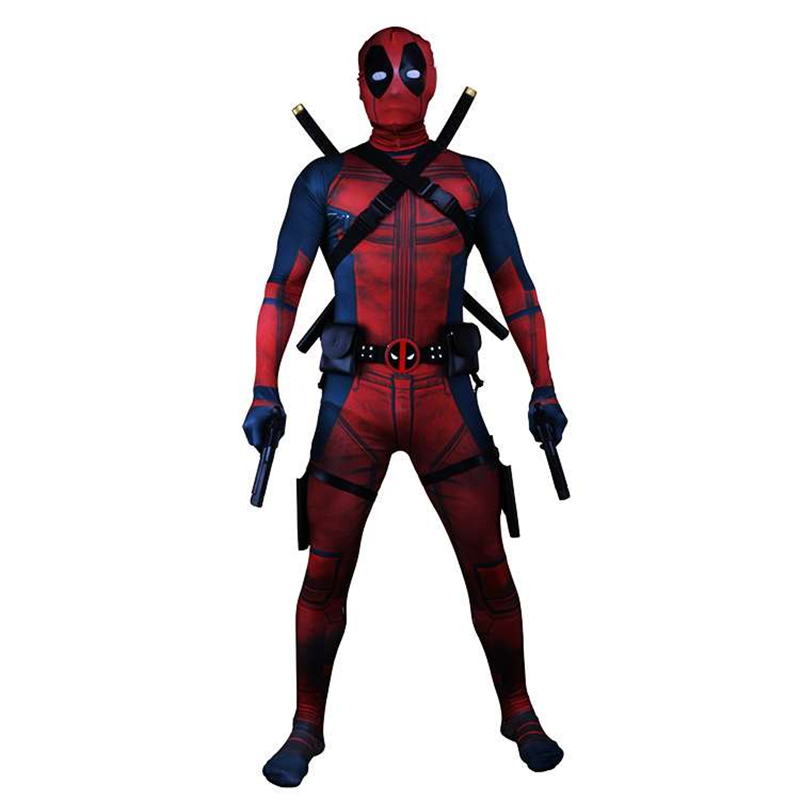 Deadpool CosplayCostume Adult Man Spandex Lycra Zentai Bodysuit Halloween Cosplay Suit Belt Headwear Mask Sword Holster