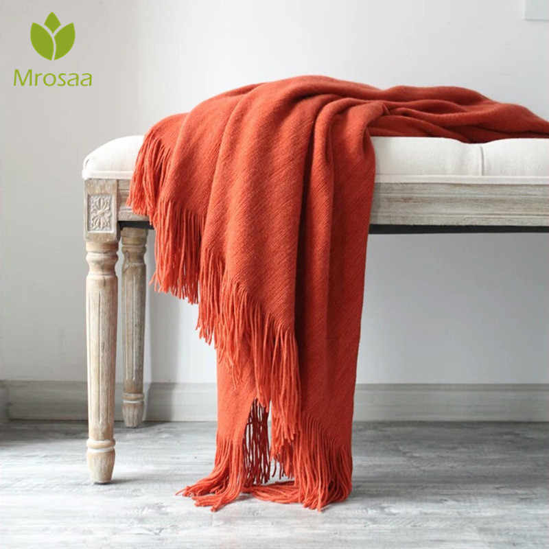 130cmX200cm Cotton Cashmere Crochet Nordic Blanket Super Soft Sofa Cover Blanket Winter Bed Bedding Warm Soft Quilt Bed Supplies