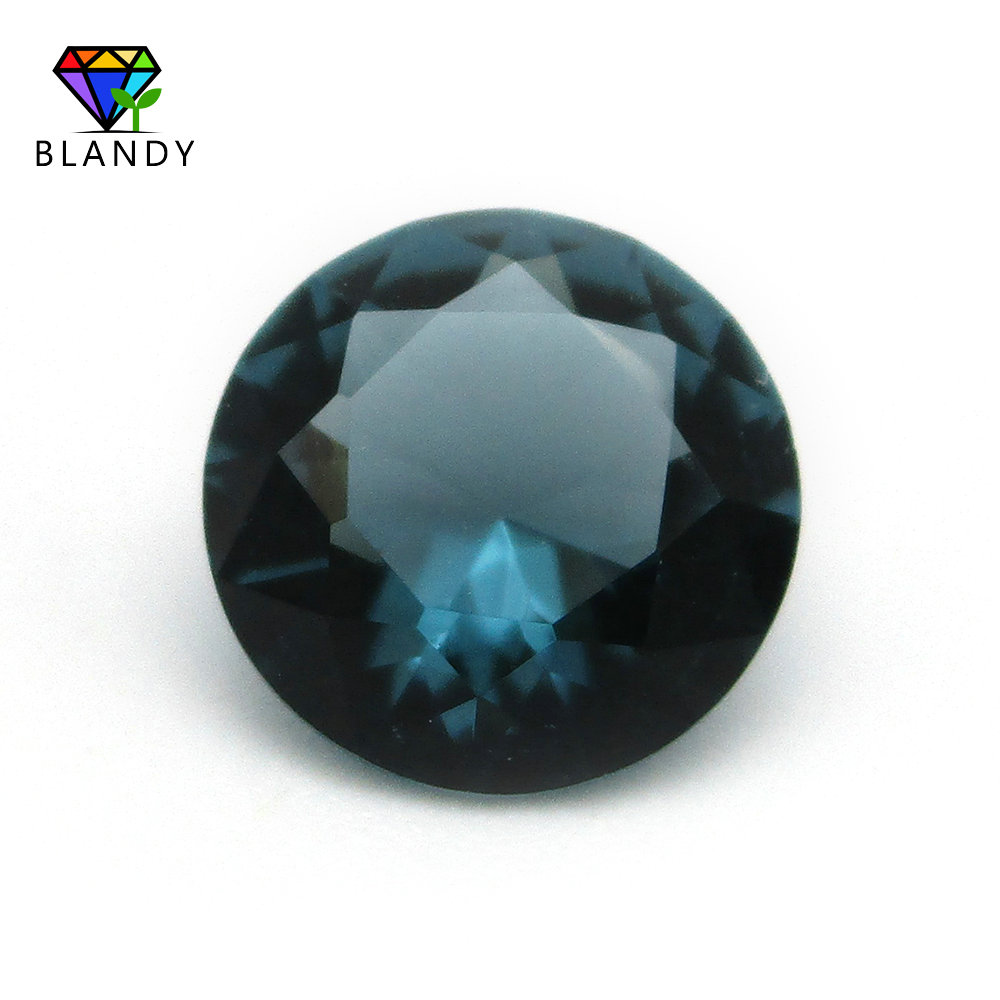High Quality 3.0-14mm Round Cut Ink-Blue Color Glass Stone Loose Synthetic Gems For Jewelry