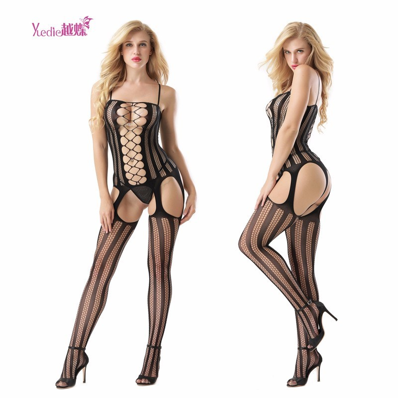 Europe And The United States New Women's Suit Sexy Open File Sexy Underwear Hanging Neck Stockings Hollow Fishing Net Socks