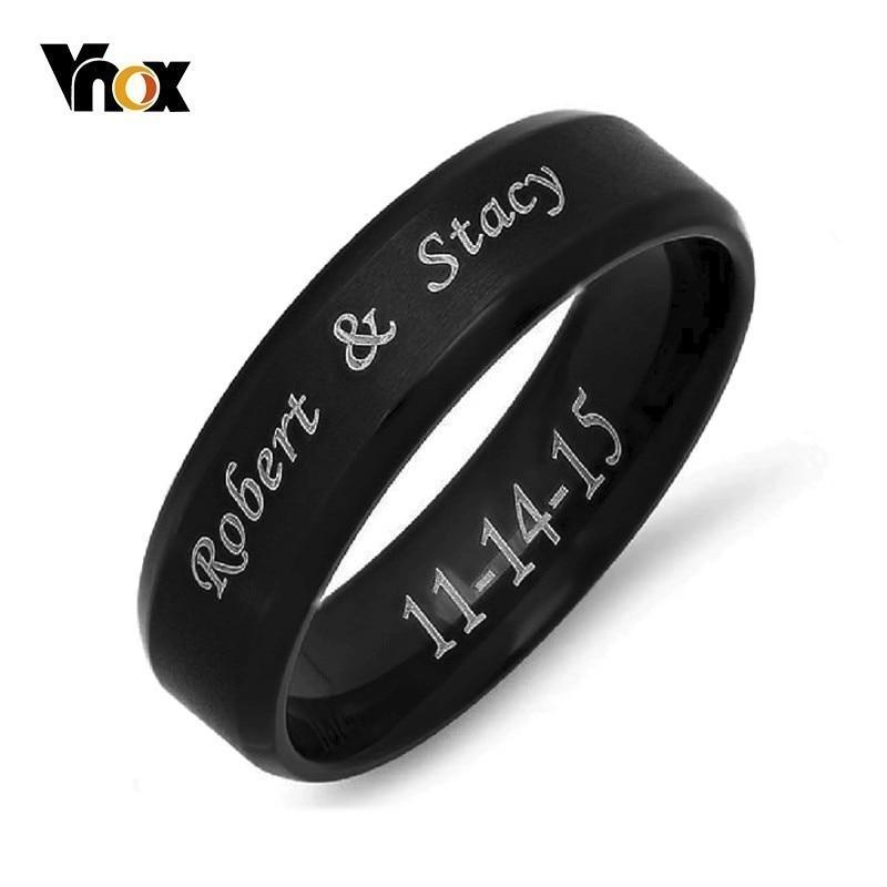 Vnox Center-Ring Brushed Wedding-Band Name-Letter Beveled-Edge Stainless-Steel Custom