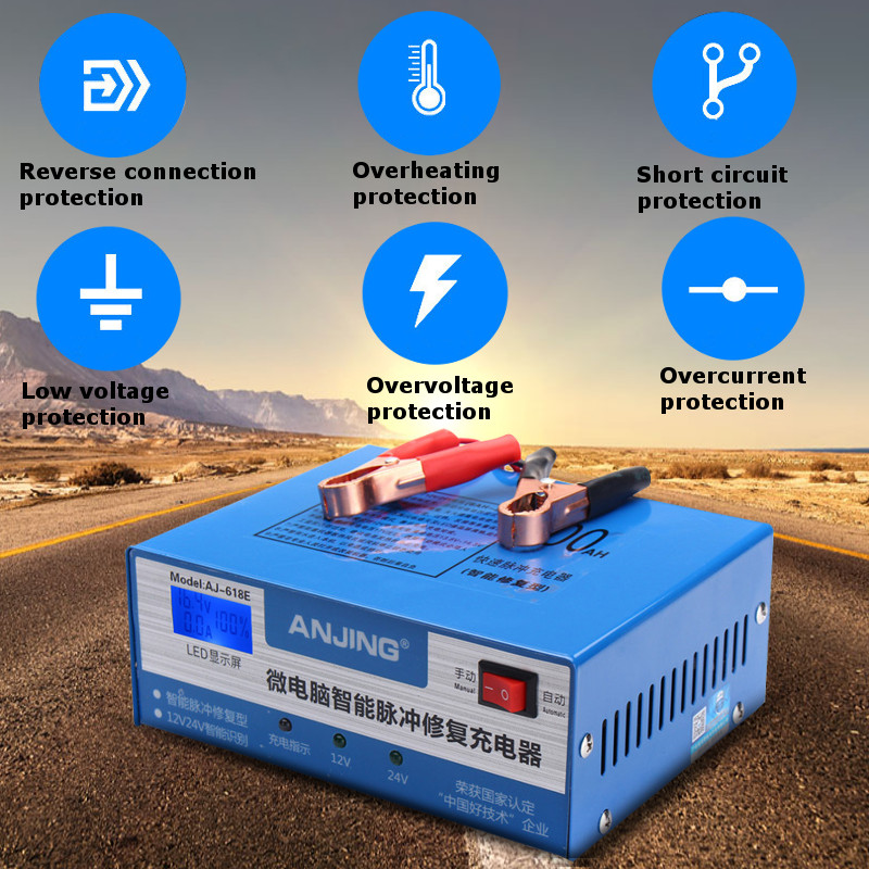 220W 12/24V 200AH Car Battery Charger Automatic Intelligent for Pulse Repair 130V-250V With LED Light With Adapter EU Plug