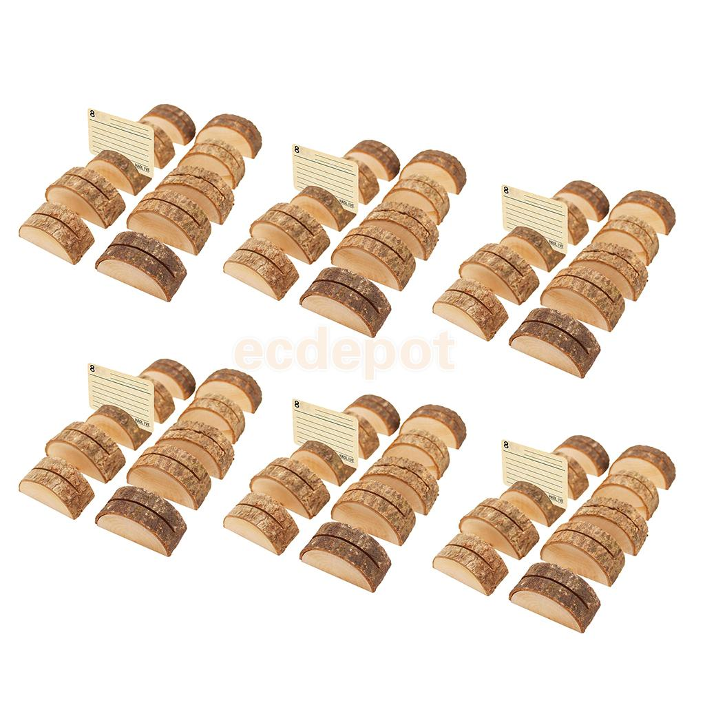 60pcs Rustic Wood Table Numbers Holder Wood Place Card Holder Party Wedding Table Name Card Holder Memo Note Card image