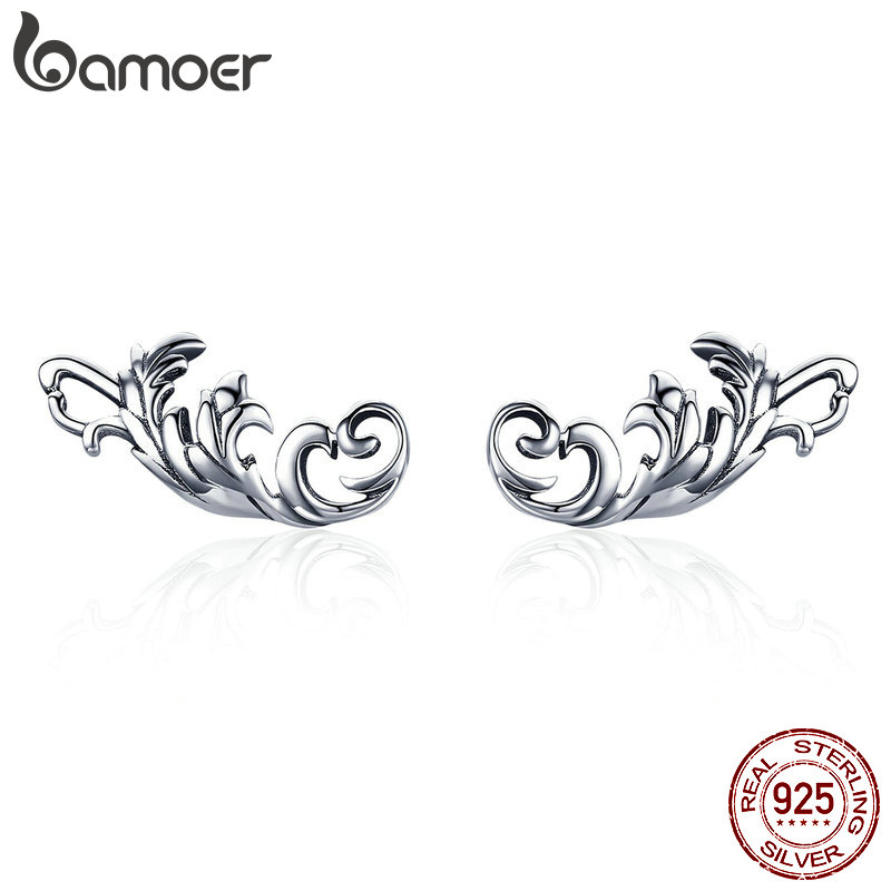 BAMOER Women Earrings Jewelry 925-Sterling-Silver Vintage Retro European SCE580 Twisted-Line