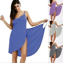 2019 Baru Fashion Hot Wanita Stripe Sling Backless Baju Renang Syal Beach Cover Up Pembungkus Sarung Gaun Panjang(China)