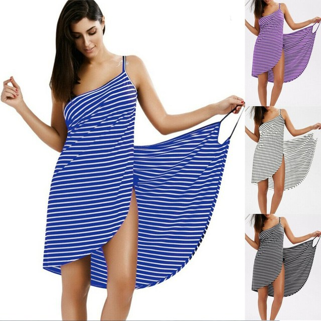 2019 New Style Fashion Hot Women Stripe Sling Backless Swimwear Scarf Beach Cover Up Wrap Sarong Long Dress
