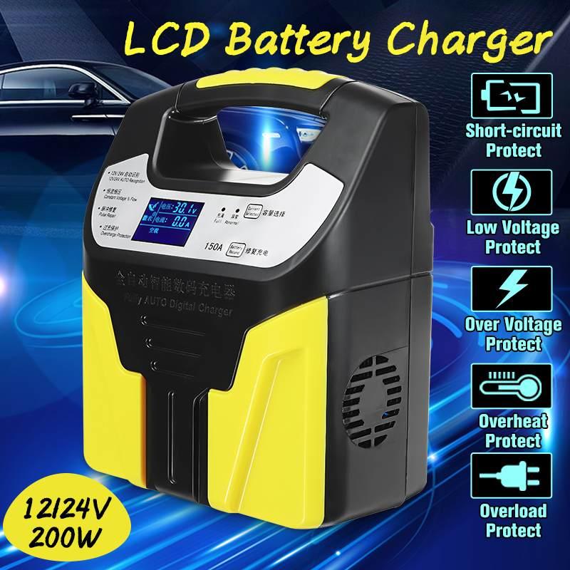 Autoleade 220 V 200 W Batterie De Voiture Chargeur Auto Réparation Intelligente Type Avec LCD Affichage Pour 12 V/24 v/2AH-200AH Batteries