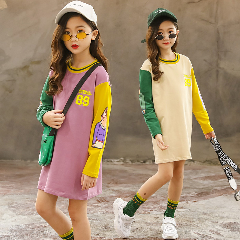 Kids Cotton girls sweater spring and autumn new letters long cartoon children's clothing image