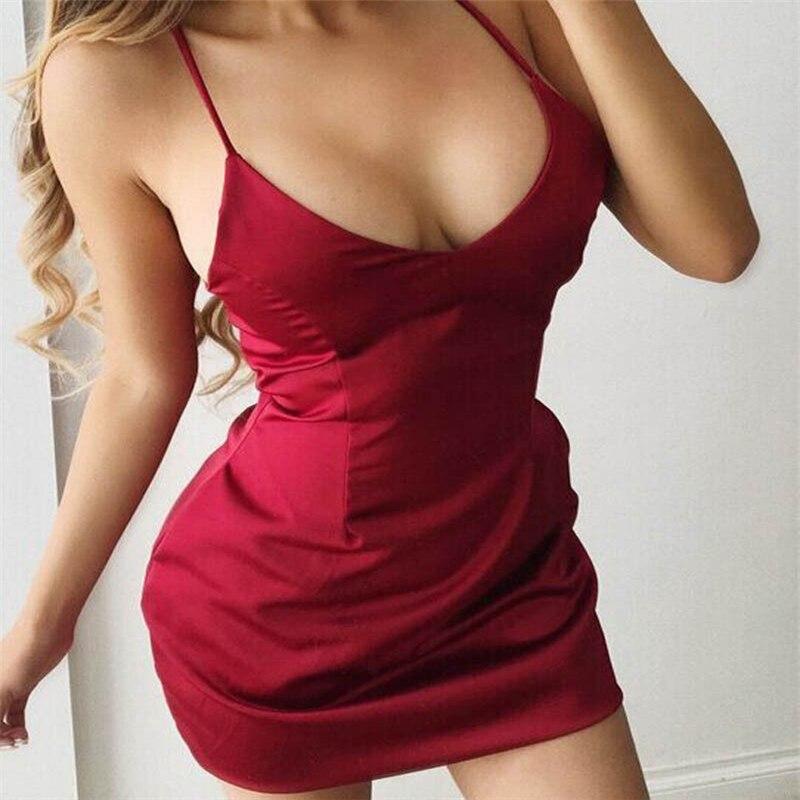 d3f4365bedd2 Sexy Women Backless Strappy Short satin dress female vogue sleeveless solid  slim dresses vestidos night club wear mini dress-in Dresses from Women's ...