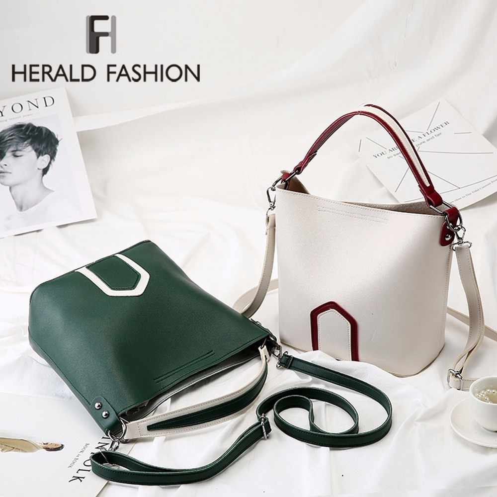 Herald Fashion Top-Handle bags For Women Bucket handbag Soft Leather Lady Shoulder Bag Large Capacity Female Totes Shopper Bag