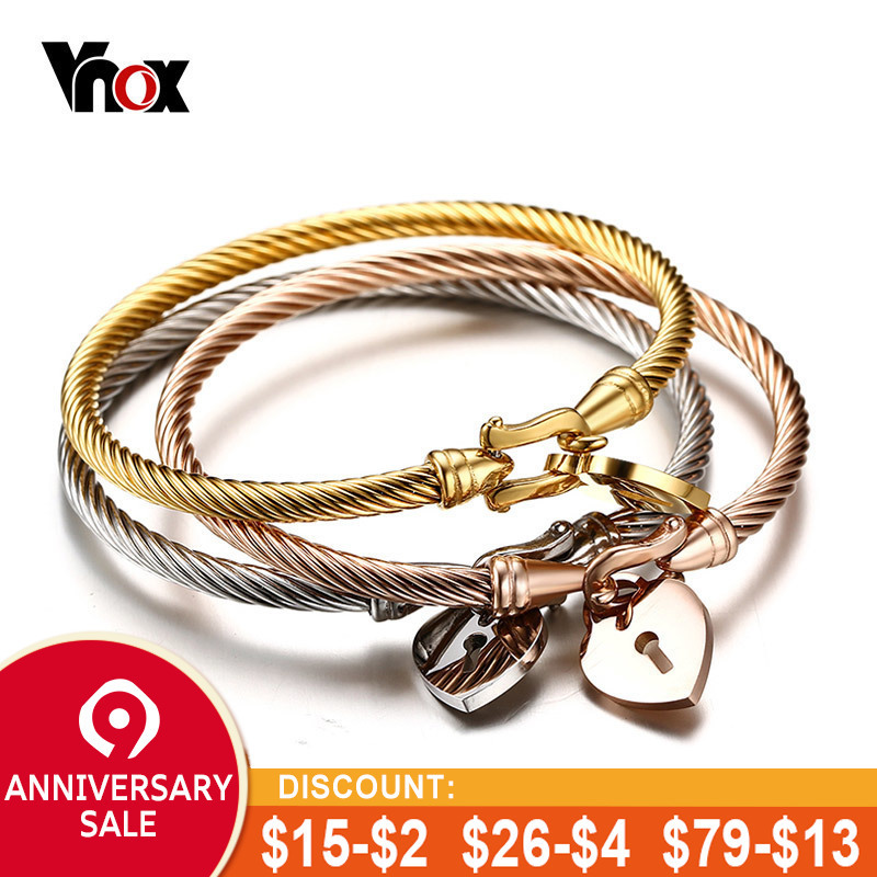 4d48985d7f5 Vnox Cuff Bracelets Bangle for Women Stainless Steel Wire Gold / Silver  Color Elegant Female Jewelry