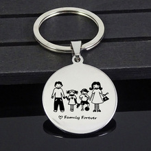 New Silver Key Chain Family Mothers Day Gift Mom Dad Daughter Son Pet Keychain Stainless Steel Round Fashion Lover
