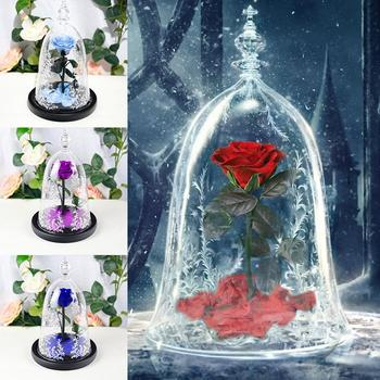 Everlasting Flower Glass Cover Rose Christmas Gift Valentine's Day Lover's Gift Home Decoration Dropshipping Without Battery