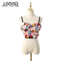 [LIVIVIO] Floral 2019 Summer Rave Festival Sexy Top Women Clothes Streetwear Spaghetti Strap Crop Tank Tops Korean Clothing New