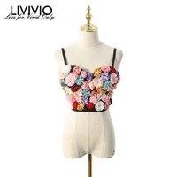 [LIVIVIO] Floral 2019 Summer Rave Festival Sexy Top Women Clothes Streetwear Spaghetti Strap Crop Tank Tops Korean Clothing New