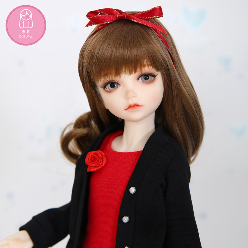 Wig For BJD Doll L6# Free Shipping Size 16-17cm 1/6Curly Wig  Bangs Heat Resistant Synthetic Long Hair Bjd Doll Wigs In Beauty