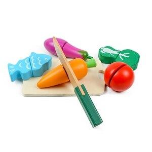 Image 4 - フルーツと野菜プレイ食品ふり切断食品おもちゃ 教育プレイセット玩具ナイフ、まな板