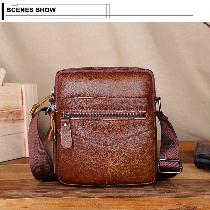 Image 5 - Men Shoulder Bag Genuine Leather Male Cow Leather Messenger Flap Small Shoulder Bags For Mens Solid Black Crossbody BagCrossbody Bags   -