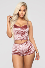 2019 Summer Two Piece Set Womens Velvet Pajamas Set Sleepwear Sexy Sleeveless Crop Tops Shorts 2Pcs Set Nightwear Plus Size