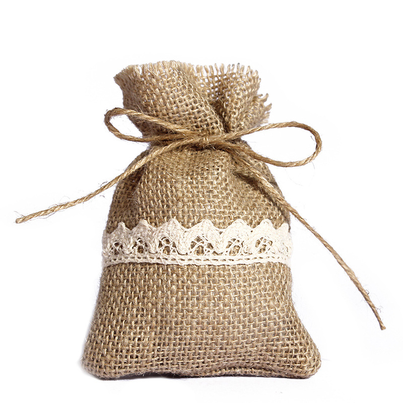 50PCS Burlap Bags Natural Jute Large Burlap Pouch Sack Favor Bag For Showers Weddings Parties And Receptions - 10x14 CM