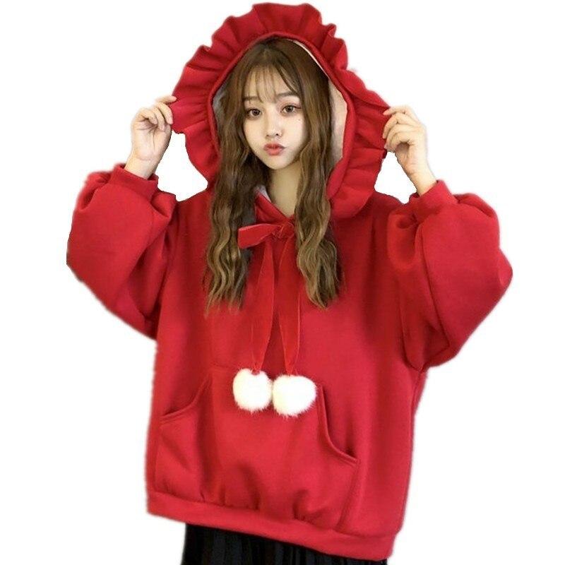 Lolita Girls Autumn Winter Streetwear Korean Style Christmas Ruffled Hooded Sweatshirt With Plush BallsVelvet Pullovers Hoodies