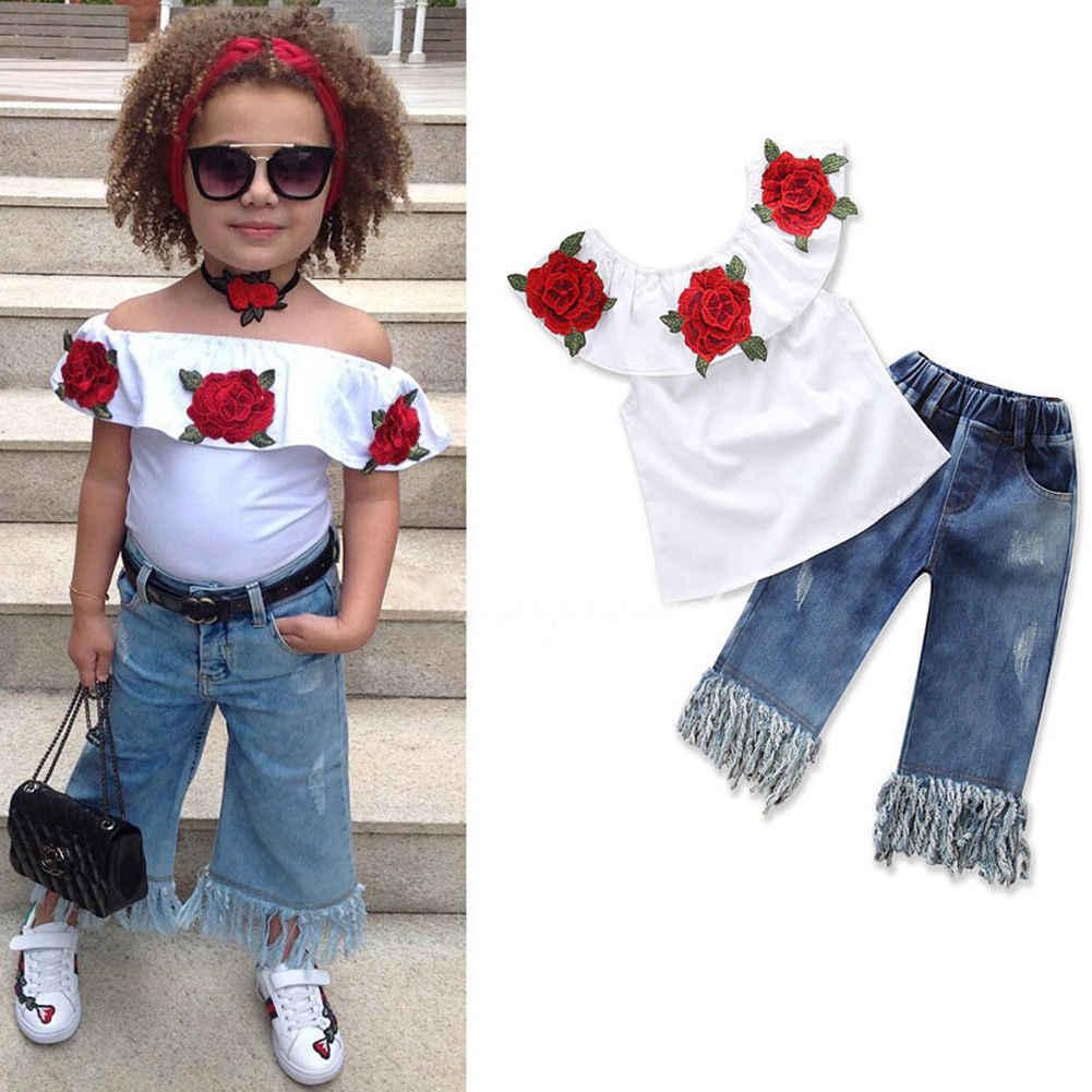 68efe532faef 2pcs Fashion Girls Clothing Set 2019 Summer Baby Girls Clothes White Floral  Top Ruffles+Denim