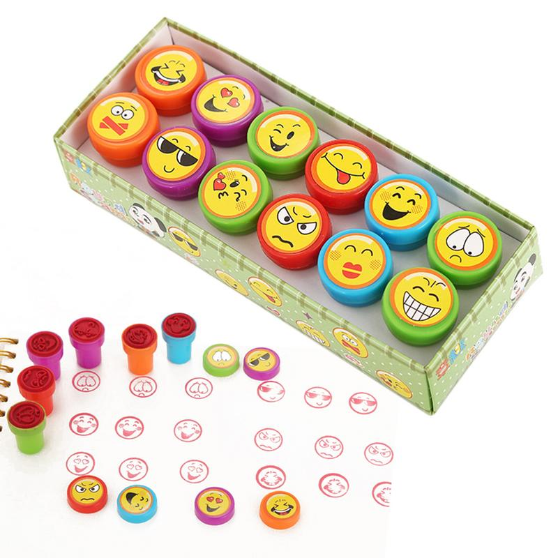 12PCS Children Toy Stamps Cartoon Smiling Face Emoji Kids Seal For Scrapbooking Stamper DIY Painting Photo Album Decor