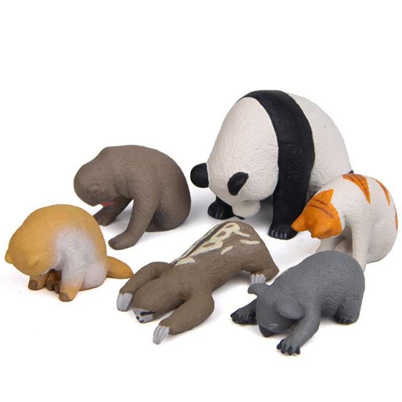 1 Pc Cute Sleeping Zoo Animal Action Figures Cartoon Cat Dog Panda Monkey Koala Otter Model Figure Toys Doll-0