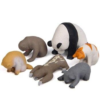 1 Pc Cute Sleeping Zoo Animal Action Figures Cartoon Cat Dog Panda Monkey Koala Otter Model Figure Toys Doll
