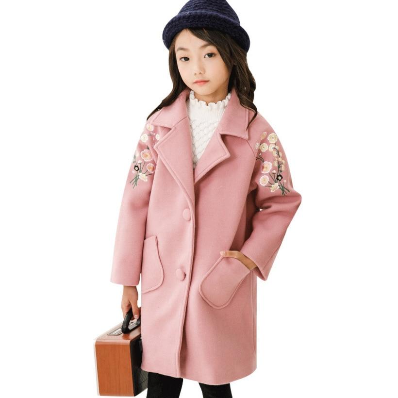 a8630eb3855 Winter Jackets Girls Coat Teenage Outerwear Woolen Jacket Coat For Girl  Trench Coat Kids Children Coats Girl Clothes