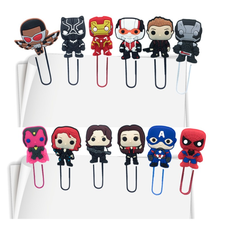 100pcs Cartoon Marvel's The Avengers Action Figure Cute Bookmarks For Books Page Holder Paper Clips Office School Supplies