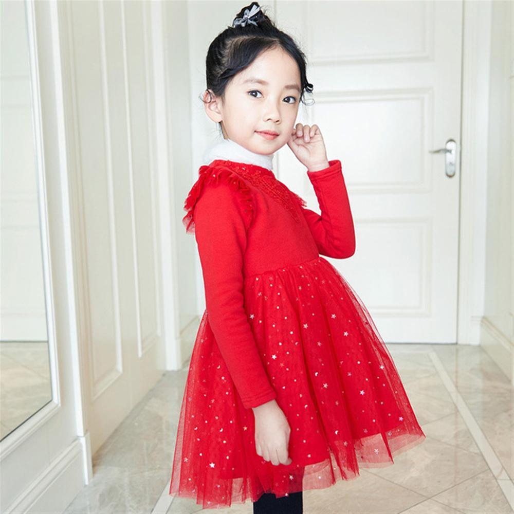 Winter Girls Dress Thick Warm Autumn Kids Clothes Flower Mesh Children Princess Dresses Toddlers Teens Wedding Party Costume