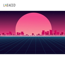 Laeacco Cartoon Sunshine Buildings Backdrop Photography Background Customized Photographic Backdrops For Photo Studio