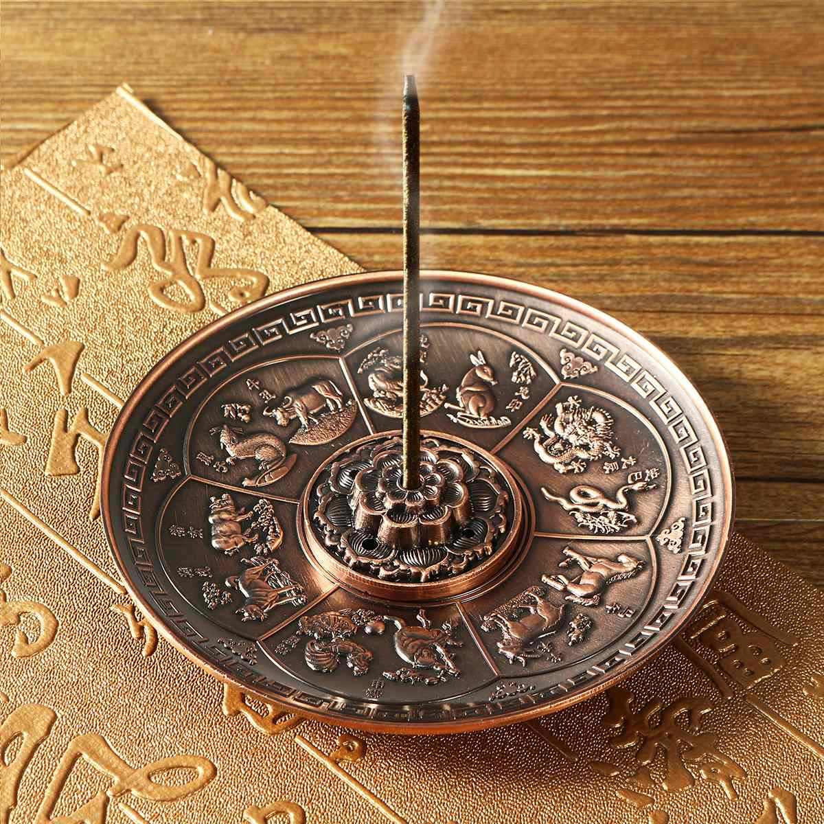 Retro 5 Holes Lotus Incense Burners Dragon Incense Holder Stick Cone Censer Plate Buddhism 2 Colors Home Office Decoration Craft