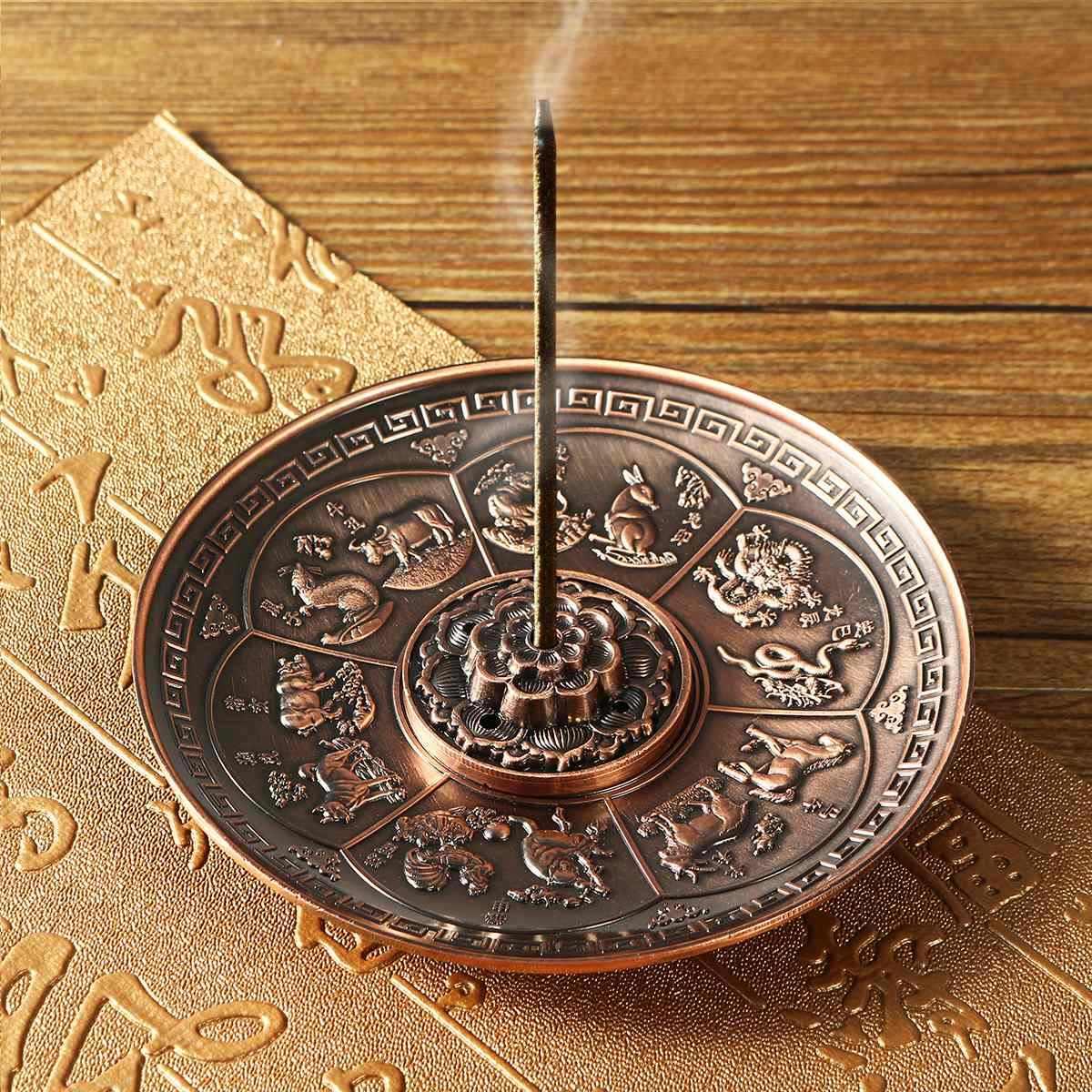 レトロ 5 穴蓮香バーナードラゴン香ホルダースティックコーン香炉プレート仏教 2 色ホームオフィスの装飾クラフト