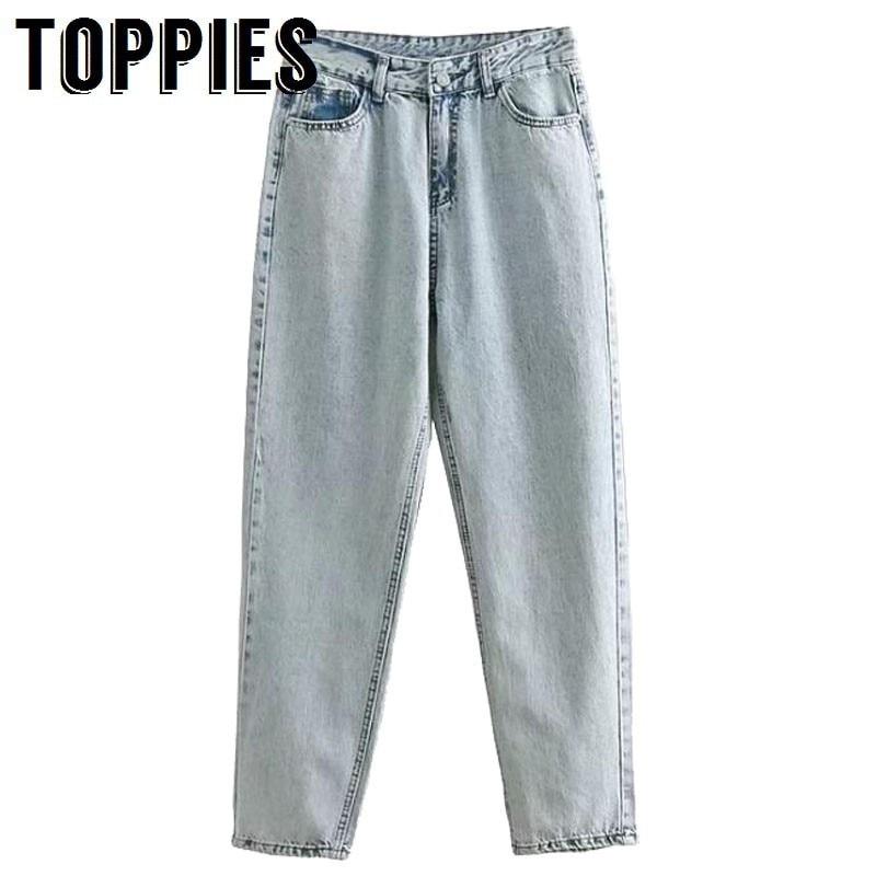 2019 Spring High Waist   Jeans   Woman Boyfriend Style Denim Pants Zipper Fly Vintage White   Jeans   pantalones vaqueros mujer