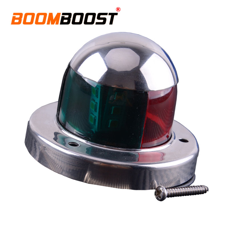 DC 12V LED Deck Mount Double Color Lamp Marine Boat Yacht Bow Navigation Light Stainless Steel