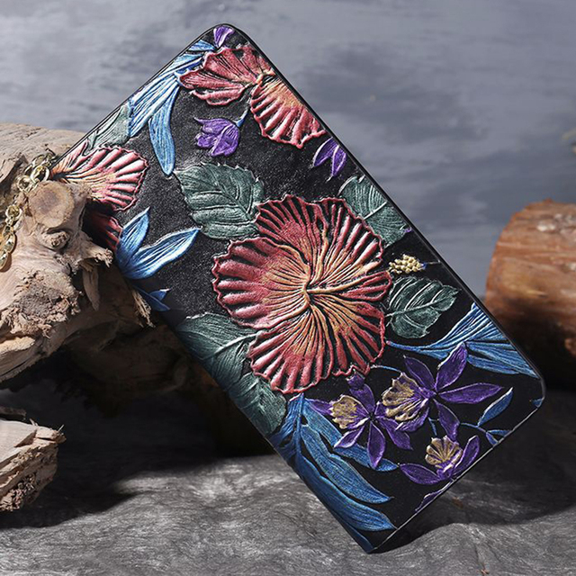 Women Real Cowhide Long Purse Money Bag ID/Credit Card Holder Coin Bags Vintage Embossed Genuine Leather Handy Clutch Wallet